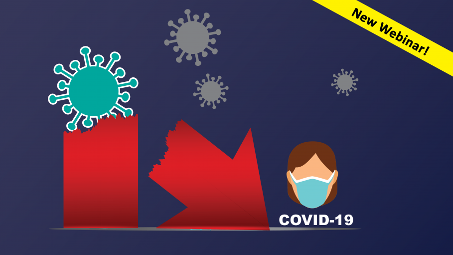 Woman with a mask and a COVID-19 virus breaking an arrow