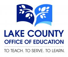 Logo that says Lake County Office of Education with blue book with white leaves